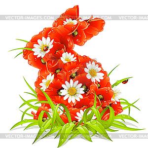 Frühlings-Blumen in Form des Osterhasen - Vector-Design