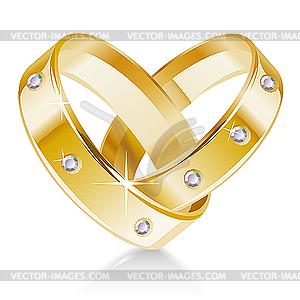 Zwei Eheringe in Herzform - Vector-Clipart / Vektor-Bild