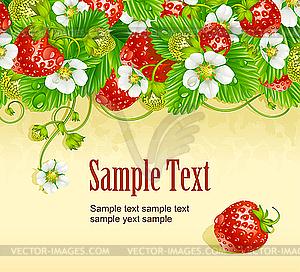 Erdbeerkarte. Rote Beeren und weiße Blumen - Vektor-Klipart