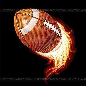 Fliegender flammender Ball für American Football - vektorisiertes Clipart