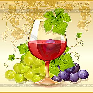 Glas Wein und Trauben - Vector-Clipart