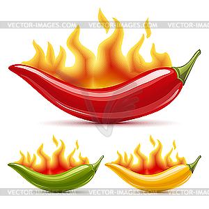Grüne, gelbe und rote Paprikas - Vektor-Klipart