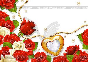 Postkarte mit Rosen, Perlen und Medaillon - Vektor-Klipart