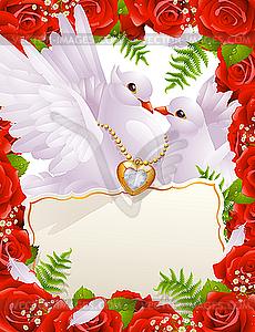 Valentinstagskarte mit Tauben - Vector Clip Art