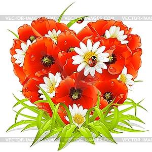 Frühlings-Blumen in der Form des Herzens - Vector-Bild