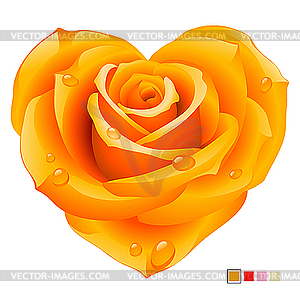 Orangefarbene Rose in der Form des Herzens - Vector-Clipart EPS