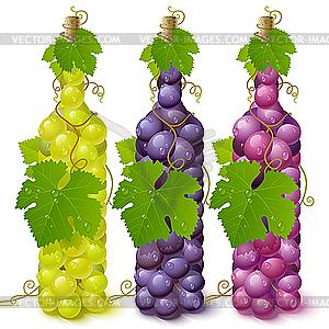 Weinflaschen aus Trauben - Vektorgrafik-Design