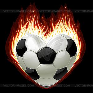 Fußball in der Form von Herzen im Feuer - Vektor-Illustration