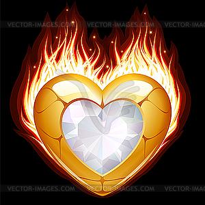 Schmuck in Form von Herzen im Feuer - Vektor-Clipart / Vektor-Bild