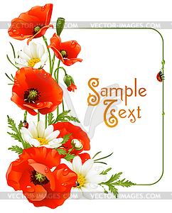 Flower Frame. Mohn und Kamille - Vektor-Design