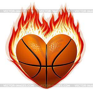 Basketball auf Feuer in Form von Herzen - vektorisiertes Bild