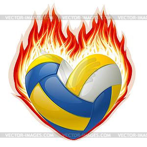 Volleyball im Feuer in der Form von Herzen - Klipart