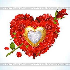 Rote Rosen und goldenes Schmuckstück in Form von Herzen - Stock Vektorgrafik