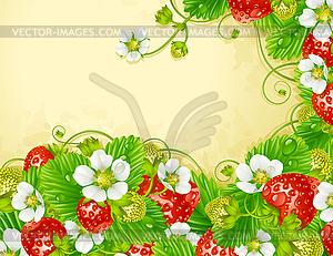 Erdbeer-Rahmen - rote Beeren und weißee Blumen - Vektorgrafik