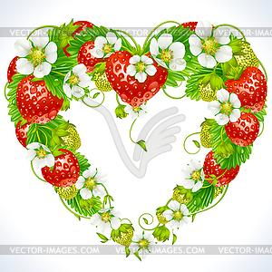 Rahmen aus Erdbeeren in der Form des Herzens - Vector-Clipart EPS
