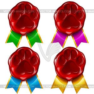 Hunde-und Katzen-Tatzen-Wachs-Siegel und Farbband - Vector Clip Art