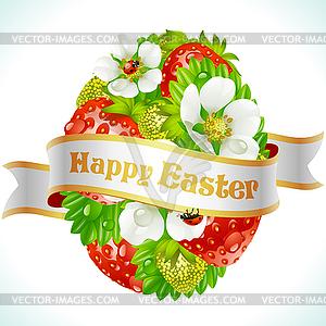 Osterei aus Erdbeeren und Blumen - Vektor-Clipart / Vektorgrafik