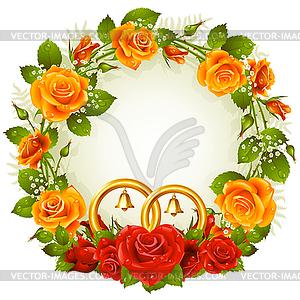 Blumenrahmen von orangefarbenen und roten Rosen - Stock Vektor-Bild