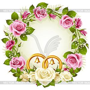 Flower frame. weiß und rosa Rose - Stock-Clipart