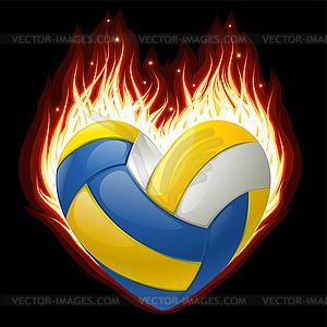 Volleyball im Feuer in der Form von Herzen - vektorisierte Grafik
