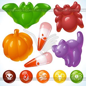 Köstliches Halloween - unheimliche Späße und Süßigkeiten - Vektor-Bild