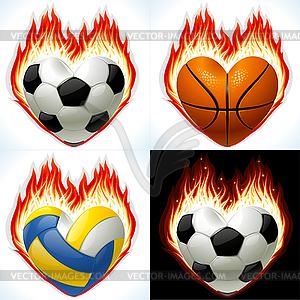 Fußball, Basketball und Volleyball - Bälle - Vektor-Skizze