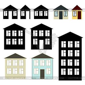 Einfache Gebäude, Set - Royalty-Free Vektor-Clipart