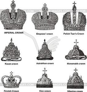 Russische Kaiser- und Zar-Kronen - Vector-Abbildung
