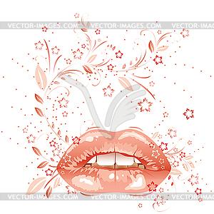 Sexy Lippen und Blumenmuster - Vector Clip Art