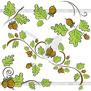 Eiche Zweige zur Dekoration - Vektor-Clipart