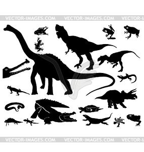 Silhouetten von Reptilien und Dinosauriern - Vektor-Clipart
