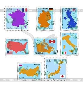Satz von Briefmarken mit verschiedenen Ländern - Vector-Bild