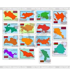 Satz von Briefmarken mit Republiken der UdSSR - Vector-Clipart EPS