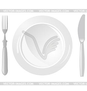 Teller, Messer und Gabel - Vektor-Skizze