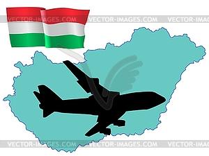 Fly me to Hungary - farbige Vektorgrafik