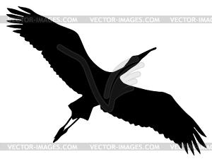 Silhouette von Storch - schwarzweiße Vektorgrafik