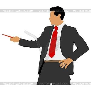 Geschäftsmann mit Zeiger - Vector-Clipart / Vektor-Bild