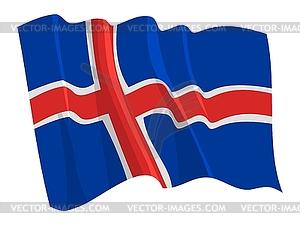 Wehende Flagge von Island - Vector-Clipart / Vektorgrafik