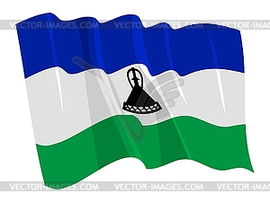 Wehende Flagge von Lesotho - Vector Clip Art