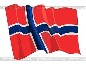 Wehende Flagge von Norwegen - Vektor-Clipart / Vektorgrafik