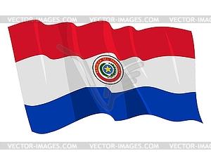 Wehende Flagge von Paraguay - Vektor-Clipart / Vektorgrafik