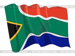 Wehende Flagge von Südafrika - vektorisierte Grafik