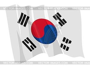 Wehende Flagge von Südkorea - Klipart
