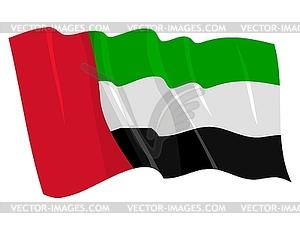 Wehende Flagge von Vereinigte Arabische Emirate - Vektor-Klipart