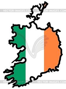 Karte in den Farben von Irland - vektorisiertes Clip-Art