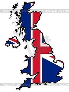 Karte in den Farben der britischen - Vektorgrafik-Design