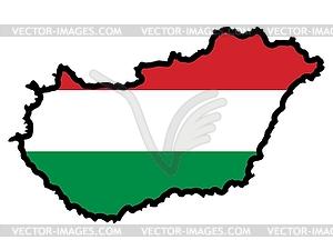Karte in den Farben von Ungarn - vektorisiertes Design
