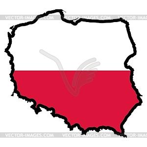 Karte in den Farben von Polen - Stock Vektorgrafik