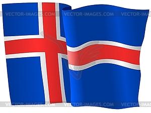 Wehende Flagge von Island - Vector-Clipart / Vektor-Bild