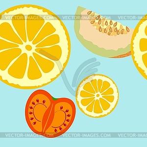 Nahtloser Hintergrund mit Früchten - Vektorgrafik